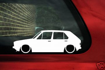 2x LOW Mk1 Golf 5 DOOR GTi 8v,CL small bumper outline silhouette stickers,decals